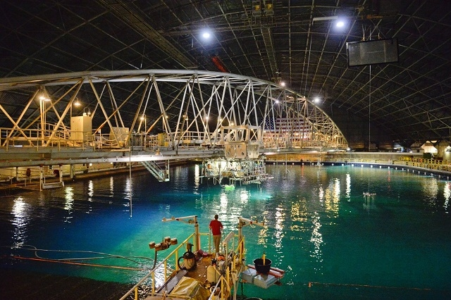 Water filled testing facility showing the duo being deployed